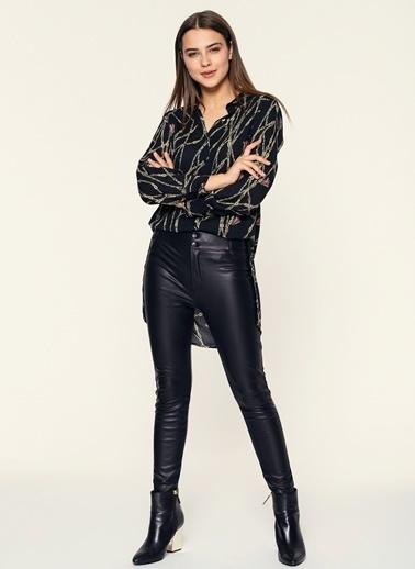 Loves You Bel Detaylı Deri Görünümlü Yüksek Bel Pantolon Siyah